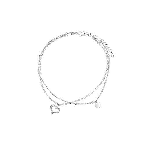 KGDUYH Multa Pulsera de toblet de Doble Amor Plateado Zircon Anklet Sandal Anklet Jewelry Accesorios de joyería (Color : Silver)