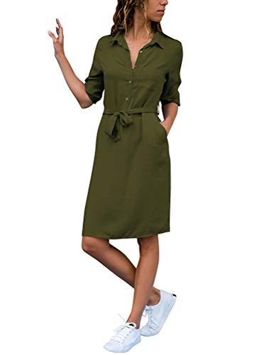ShallGood Damen Casuel Hemdkleid Knielang Button Down V-Ausschnitt Blusenkleid Shirt Kleid 3/4 Hülse Kragen Shift Lose Kleid Einfarbig...