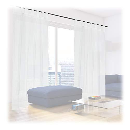 Relaxdays Gardinen 2er Set, HxB: 245x140 cm, halbtransparente Vorhänge, Wohn- & Schlafzimmer, Schlaufengardinen, weiß