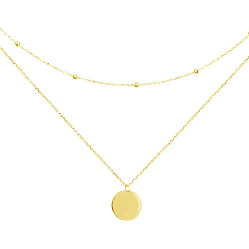 Layered Disc Pendant Choker Necklace for Women Girls 925 Sterling Silver 18K Gold Plated Dainty Full Moon Circle Coin Collar Two-Double Chain Fashion Y Jewellery Gifts Box Birthday Wedding