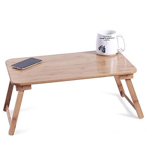 Mesa Portátil Ordenador Ajustable con Ruedas Escritorio de la computadora plegable de madera maciza, mesa perezosa portátil de la sala de estar, dormitorio, escritorio simple en casa, tamaño opcional