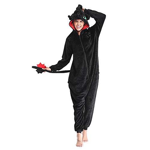 Cómo Entrenar a tu dragón sin Dientes Anime Kigurumi Mujeres Invierno Franela Animal Mono Lindo Cosplay Ropa de Dormir Mono Pijama