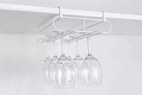 HomTory NO DRILLING Nail Free Stemware Wine Glass Metal Hanger Rack Organiser with 4 S-Hooks Combo - Holds Wine Glass Mug Utensil Kitchenware Stemware for Cabinet Bar Shelf Kitchen