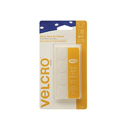 VELCRO Brand For Fabrics | Permanent Sticky Back Fabric Tape for Alterations and Hemming | Peel and Stick - No Sewing, Gluing, or Ironing | Pre-Cut Ovals, 1 x 3/4 inch, White - 8 Sets