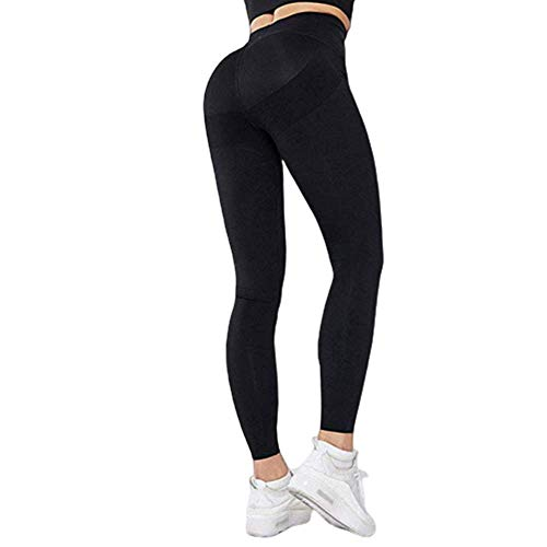 big face cat Pocket Yoga Pants High Bounce Tight Exercise High Waist Gym Pants for Women,Black, S