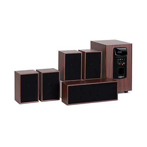 oneConcept Woodpecker Equipo de Sonido 5.1 - Equipo para Home Cinema , Juego de Altavoces , Potencia Media de 45 W , Bluetooth , USB , Ranura SD , Aspecto de Madera , Mando a Distancia , Negro-marrón