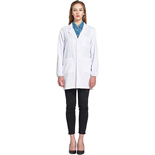 Icertag Kittel,Laborkittel, Arztkittel, Arztkittel für Frauen Damen, Weißer Mantel für Damen, Geeignet für Studenten, Wissenschaftslabor, Krankenschwester, Cosplay, Baumwollkittel (Large)