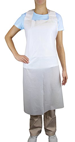 Disposable PLUS White Polyethylene Waterproof Aprons 28 x 46 inches, Stay Clean and Dry All Day While Cooking, Serving, Painting or Dishwashing. 1.0 Mil Thick for Maximum Durability (100 Pack)