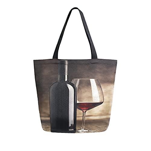 COZYhome - Bolsa de lona grande, botellas de vino, pintura de cristal, bolsa de compras, bolsa de hombro, bolsa de hombro para mujeres, trabajo, escuela, etc