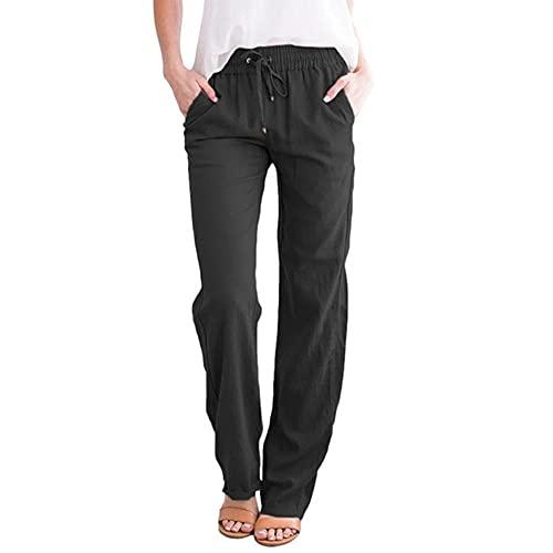 Pantalones de mujer de algodón liso con cordón suelto casual de pierna ancha