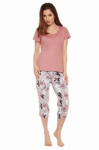 Moonline Pijama para Mujeres con Pantalones Capri, Capri-Rosa-Flores, Talla L