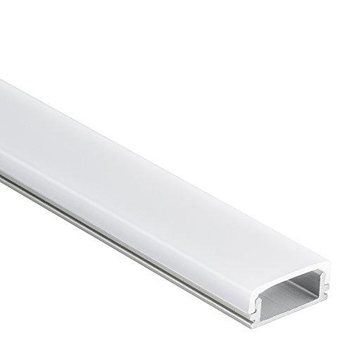 P15 Han Aluminium Profil ultraflaches LED Profil Aluprofil f. LED Streifen & LED Bänder 2m + Abdeckung Opal (milchige Abdeckung)