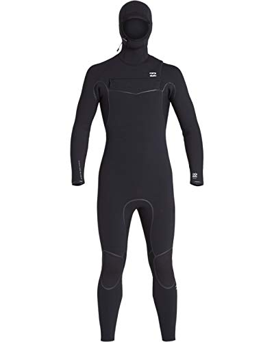 Billabong Mens Furnace Ultra 5/4mm Hooded Chest Zip Wetsuit Black - Thermal Warm Heat Layer Layers Furnace Lining