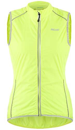 Arsuxeo - Gilet da ciclismo da donna, in poliestere, verde, bianco, nero, antivento, resistente ai raggi UV, ad asciugatura rapida, con strisce riflettenti sul retro, verde, L