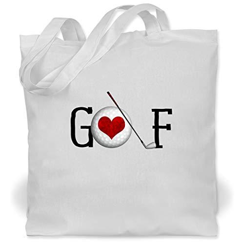 Shirtracer Golf - Golf Herz Schriftzug - Unisize - Weiß - Liebe - WM101 - Stoffbeutel aus Baumwolle Jutebeutel lange Henkel