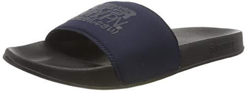 Superdry Herren Pantoffeln Pantoffeln SORRENTO POOL SLIDE, Blau (Black/Nautical Navy 0ZE), M (Herstellergröße: M)