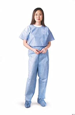 Medline NON27202L Disposable Scrub Pants, Blue (Pack of 30)