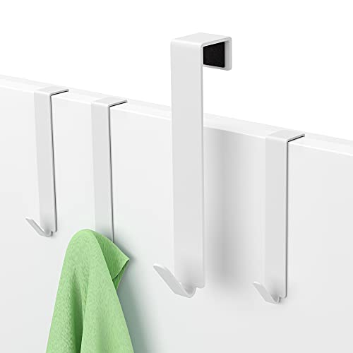 MDCASA Türhaken weiß - bis 1,5cm Türfalz - 4 Stück - Kleiderhaken über Tür - Fensterhaken Deko - Garderoben-Haken – Handtuchhalter