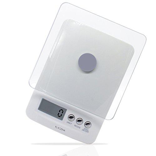 KLAGENA digitale Küchenwaage mit LCD-Display, in weiß, bis 5000 g - Elektronische Waage/Lebensmittel-Waage/Brief-Waage/Tisch-Waage/Digital-Waage