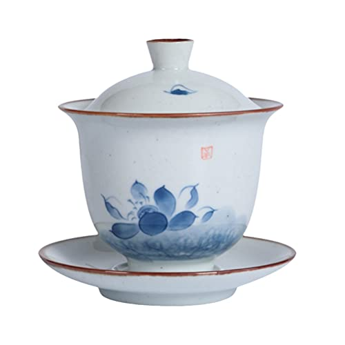 Cabilock 1 Juego de Taza de Té Tradicional China Pintado a Mano Lotus Cerámica Taza de Té Gaiwan con Tapa Y Platillo Gran Tamaño Tetera Japonesa Tetera para Regalo