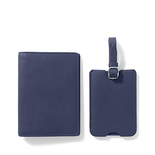 Leatherology Navy Deluxe Passport Cover + Luggage Tag Set