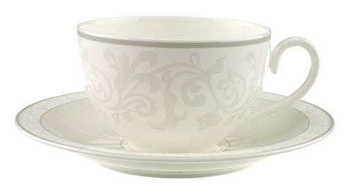 Villeroy & Boch Gray Pearl Tasse Petit Déjeuner avec Assiette, 2 pièces, Porcelaine Bone China, Multicolore
