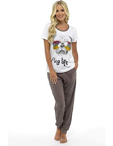 Damen Mädchen Pyjama Set Mops Leben Mickey Mouse Minnie Mad Catz Baumwolle Damen Nachtwäsche Loungewear ,Grau,S 36-38