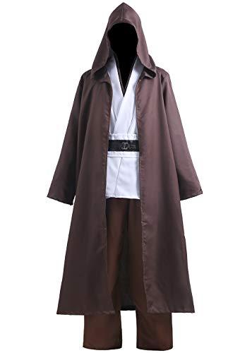 Aricy Adult Jedi Costume OBI Wan Kenobi Halloween Hooded Tunic Robe Cloak Cosplay Costume Outfit A007L Brown