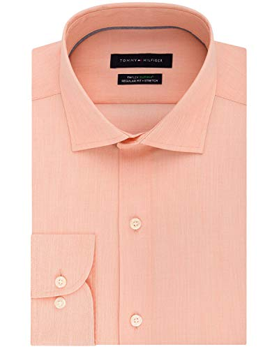 Tommy Hilfiger Mens Regular Fit Non-Iron Stretch Dress Shirt 18 36/37 Apricot