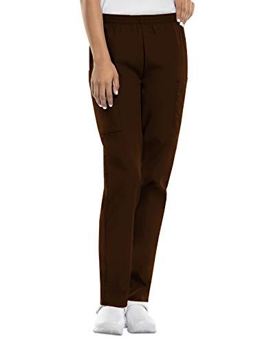 CHEROKEE Women's Workwear Elastic Waist Cargo Scrubs Pant, Chocolate, X-Large-Petite