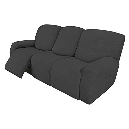 Easy-Going 8 Pieces Recliner Sofa Stretch Sofa Slipcover Sofa Cover Furniture Protector Couch Soft with Elastic Bottom Kids, Spandex Jacquard Small Check Dark Gray