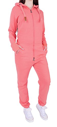 4X3 Finchgirl FG181 Damen Jumpsuit Overall Einteiler Jogging Anzug Rosa XL