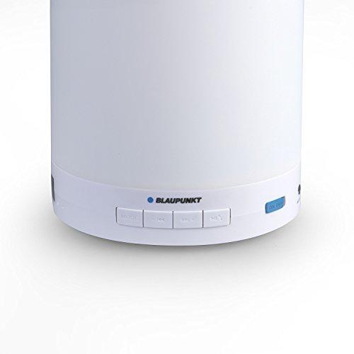 BLAUPUNKT BTL 110 Bluetooth Lautsprecher mit UKW-PLL Radio, AUX IN, LED Ambiente Licht und Freisprechfunktion weiß