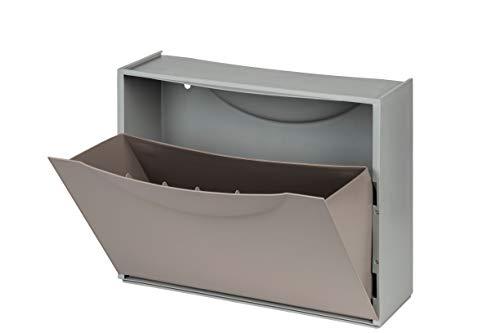 Terry Kreher Schuhkipper, Schuhschrank, Schuhbox aus Kunststoff in Grau Braun. Fasst ca. 3 Paar Schuhe. Flexibel erweiterbar, abwaschbar und leicht zu reinigen.