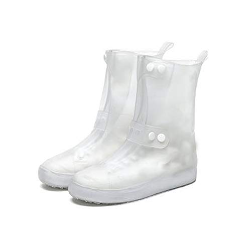 Raining Shoes Cover,Reusable Anti-Slip Foldable Thicken Sole Overshoes Galoshes Women Men, Unisex Waterproof Shoe Covers (White, 38/39)