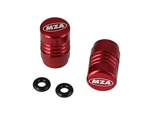 Set Ventilkappe (2 Stück) Alu rot eloxiert - MZA-Design-Kappe, incl. O-Ringe/Dichtungen