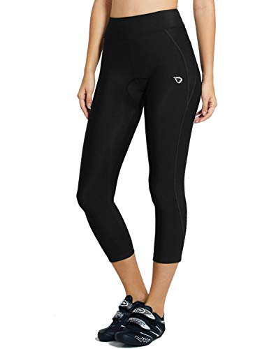BALEAF Women's 3D Padded Cycling Bike Capris Breathable 3/4 Pants Tights UPF 50+ Black Line Size M