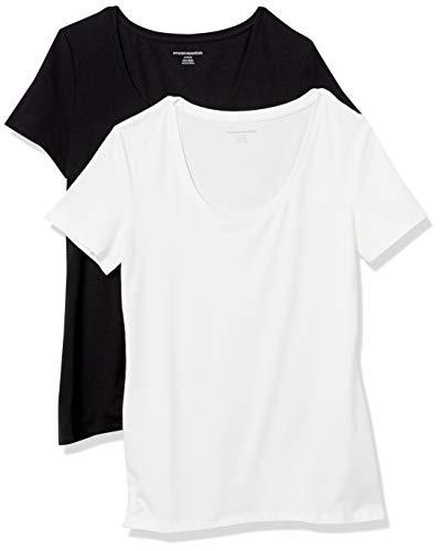 Amazon Essentials Confezione da 2 Maglietta a Maniche Corte con Scollo Rotondo Fashion-t-Shirts, Nero/Bianco, S, Pacco da 2