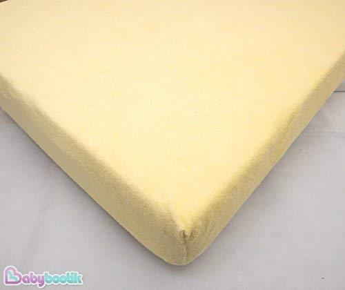 Baby Comfort Spannbettlaken Matratzenschutz für Babybett mit Matratze 120x60cm, wasserundurchlässig, Frottee, Gelb
