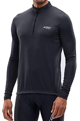 Herren Langarm Radtrikot Fahrradtrikot Radshirt Fahrradshirts Fahrradbekleidung für Männer mit Elastische Atmungsaktive Schnell Trocknen Stoff (Black, XXL)