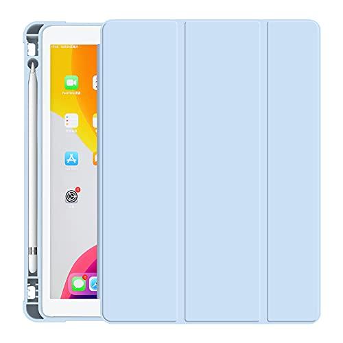 MOCA (Pencil Holder) Smart Flip Folio case Cover for Apple iPad 9.7 inch 2018 iPad 6 6th Gen Generation A1893 A1954 Stand Flip case Cover – Blue