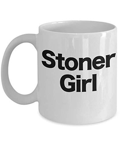 Stoner Girl Taza de café de cerámica blanca para novia, Mary Jane, cabeza de olla, marihuana medicinal, marihuana, marihuana, marihuana, cannabis, pipe,