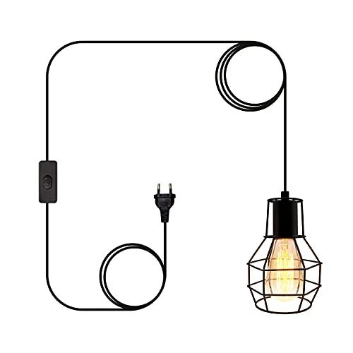 Lámpara de techo con cable de 6 m, diseño geométrico con interruptor y enchufe europeo, estilo retro, para cocina, dormitorio, comedor (bombilla no incluida)