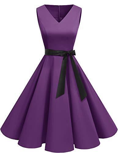 bridesmay 1950er V-Ausschnitt Halloween Kleid Vintage Cocktailkleid Rockabilly Retro Schwingen Kleid Faltenrock Purple XL