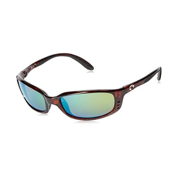 Costa Del Mar Men's Brine Polarized Oval Sunglasses, Tortoise/Copper Green Mirrored Polarized-580P, 59 mm