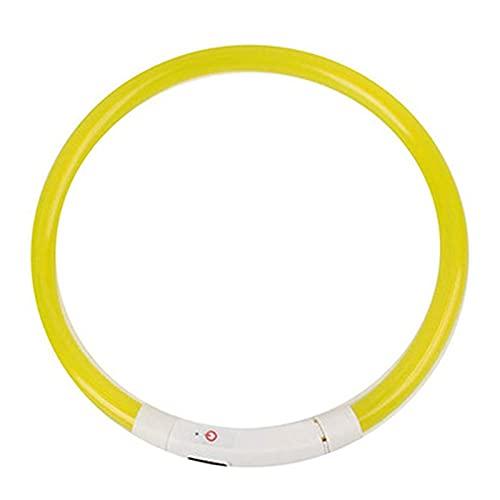 Selotrot Collar de perro de luz para la oscuridad, collar de silicona intermitente luz LED para mascotas - USB recargable - Collar LED para mascotas intermitente ajustable de seguridad
