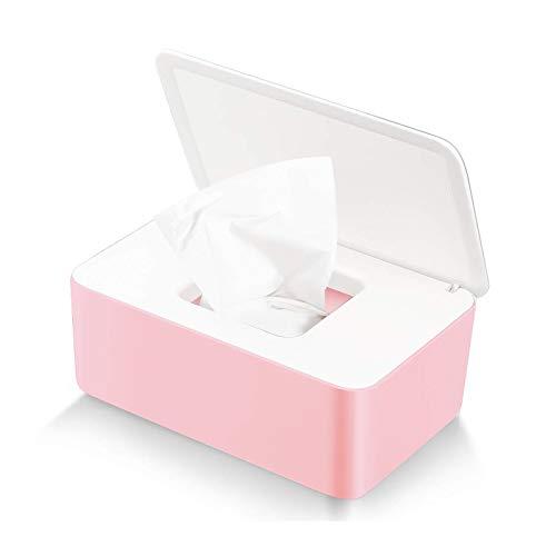 Feuchttücher-Box,Toilettenpapier Box,Kunststoff Feuchttücher Spender,Baby Feuchttücherbox,Baby Tücher Fall,Tissue Aufbewahrungskoffer,Taschentuchhalter,Tücherbox,Serviettenbox Weiße rosa Box