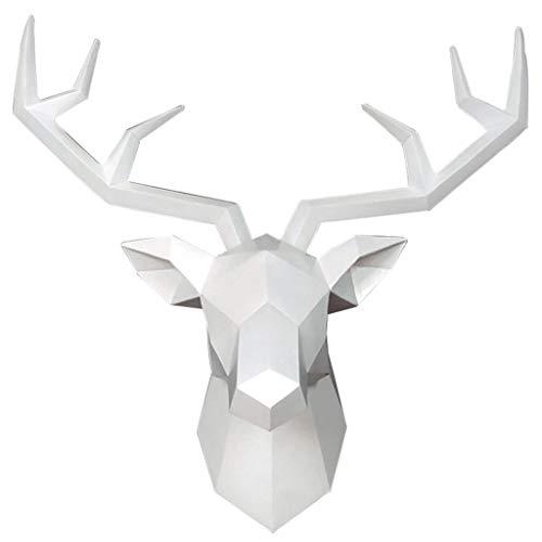 Priority Culture Scultura a Parete Decorazioni da Appendere A Parete Testa di Cervo Geometriche Soggiorno Bar Creativo Statua Animale 3D Stile Minimalista Regalo (Color : Bianca, Size : 68 * 70cm)