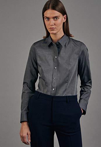 Seidensticker Damen Regular Fit Bluse Hemdbluse Langarm Regular Fit Uni Bügelfrei, Grau (Grau 33), 36 (Herstellergröße: 36)