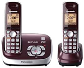 Panasonic Dect 6.0 Expandable Digital Cordless Phones with Talking Caller ID & Answering System - 2 Handset Pack in Wine Red